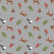 Lewis & Irene - Small Things World Animals - 6887 - Asian on Grey - SM25.3 - Cotton Fabric